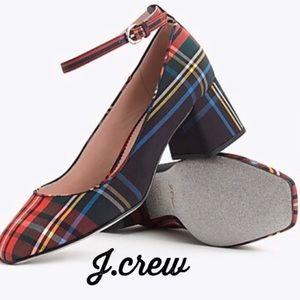 NIB J.CREW Ankle-strap block heel pumps Plaid 9